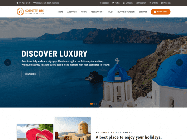 Free Country Inn WordPress theme