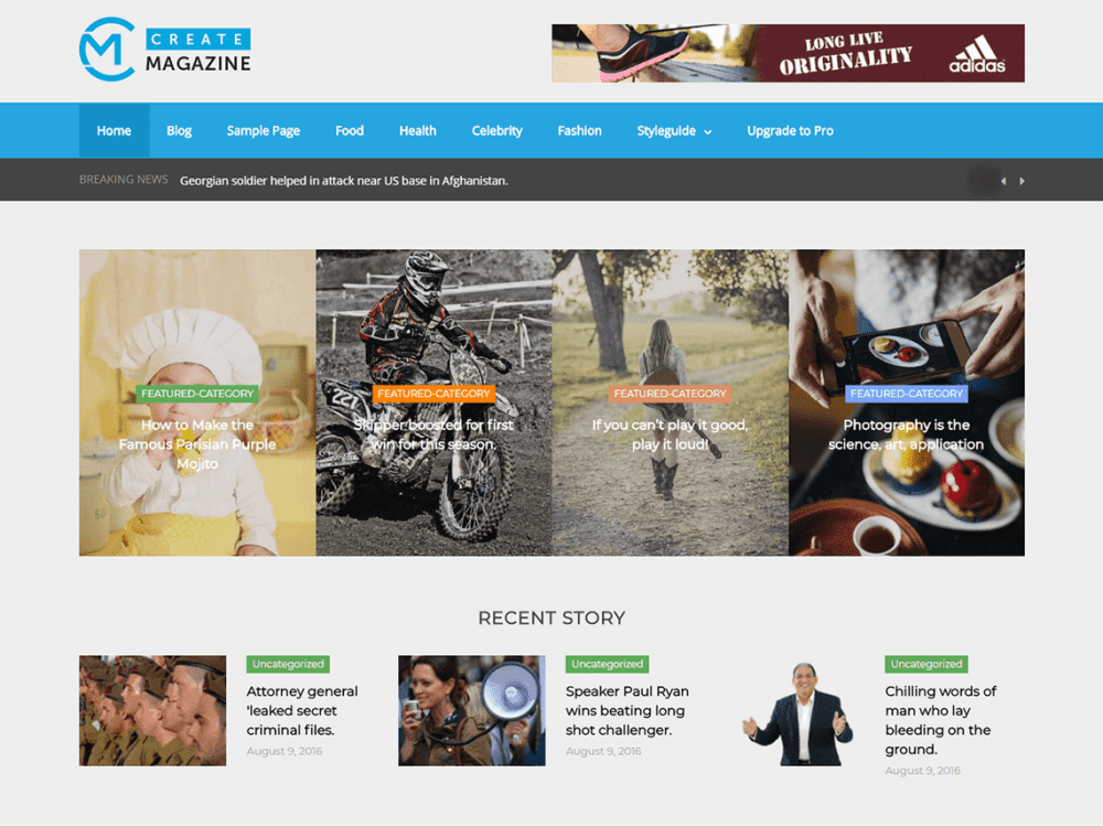 Free Create Magazine WordPress theme