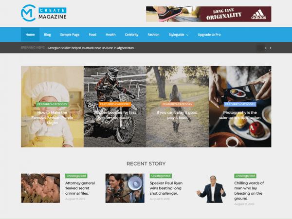 Free Create Magazine WordPress theme