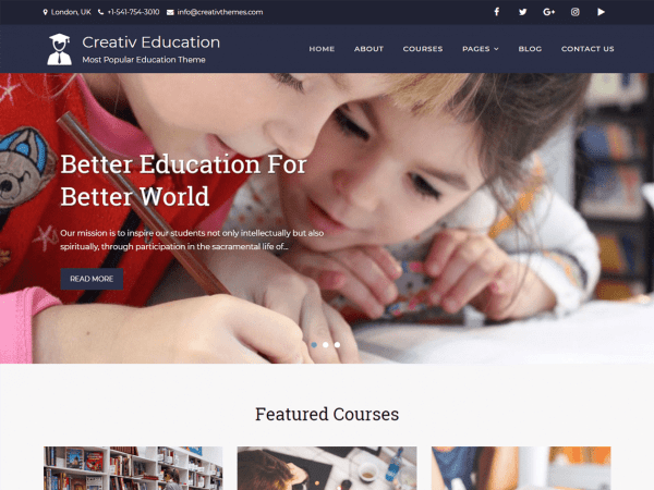 Free Creativ Education WordPress theme