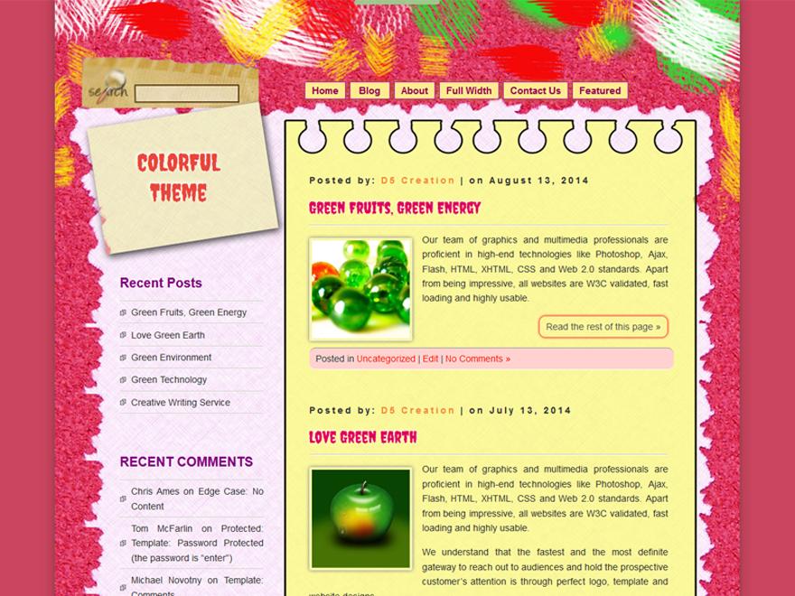 Free D5 Colorful WordPress theme