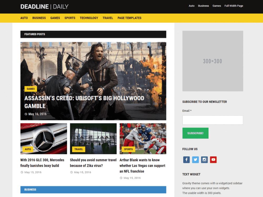 Free Deadline WordPress theme