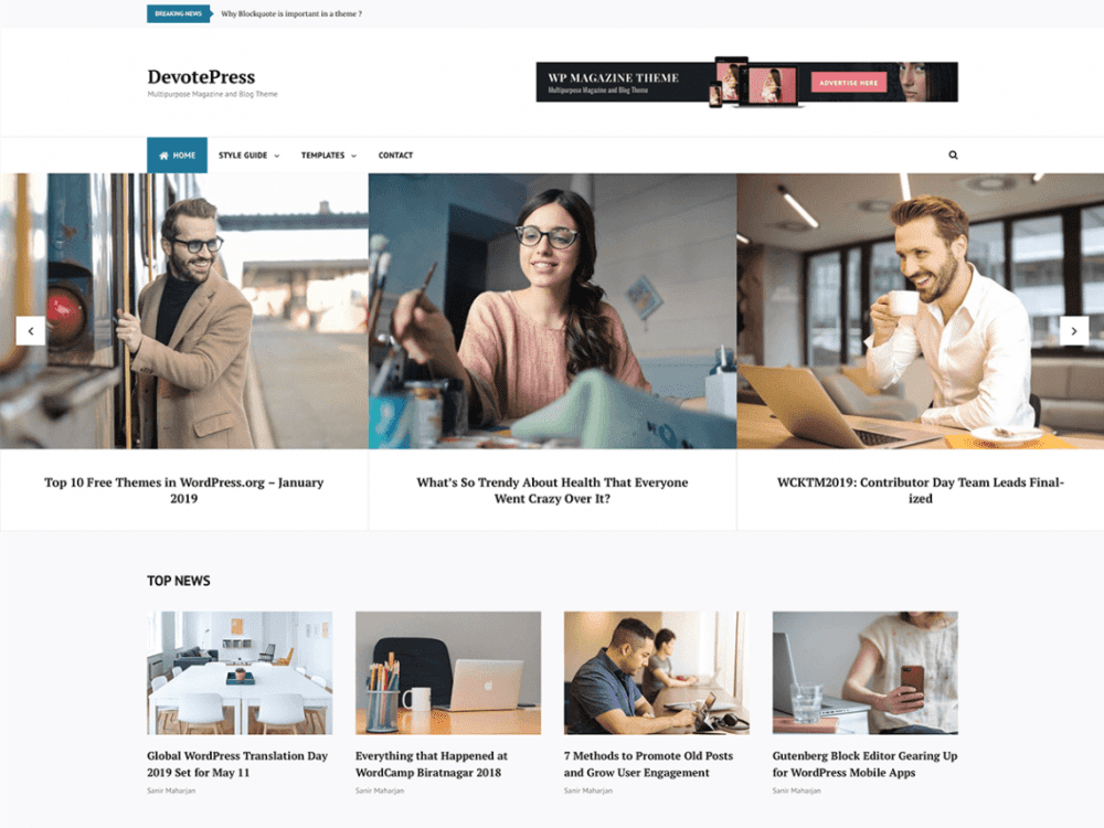Free Devotepress WordPress theme