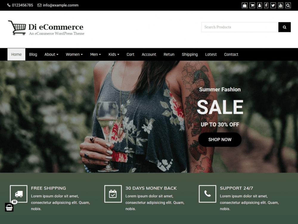 Free Di eCommerce WordPress theme