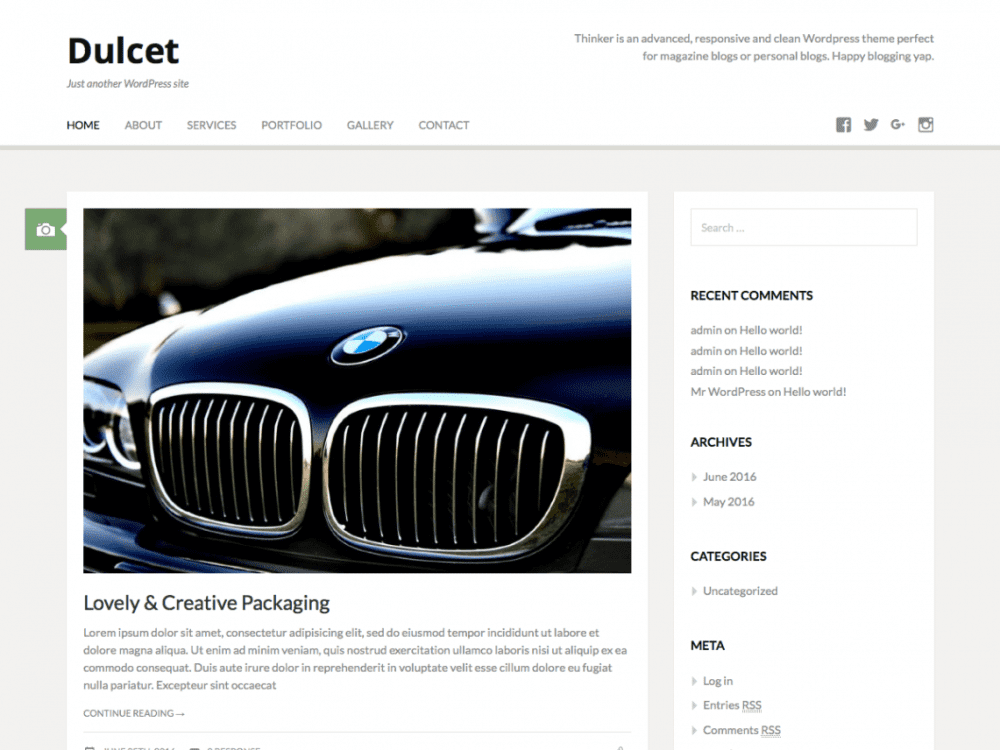 Free Dulcet WordPress theme
