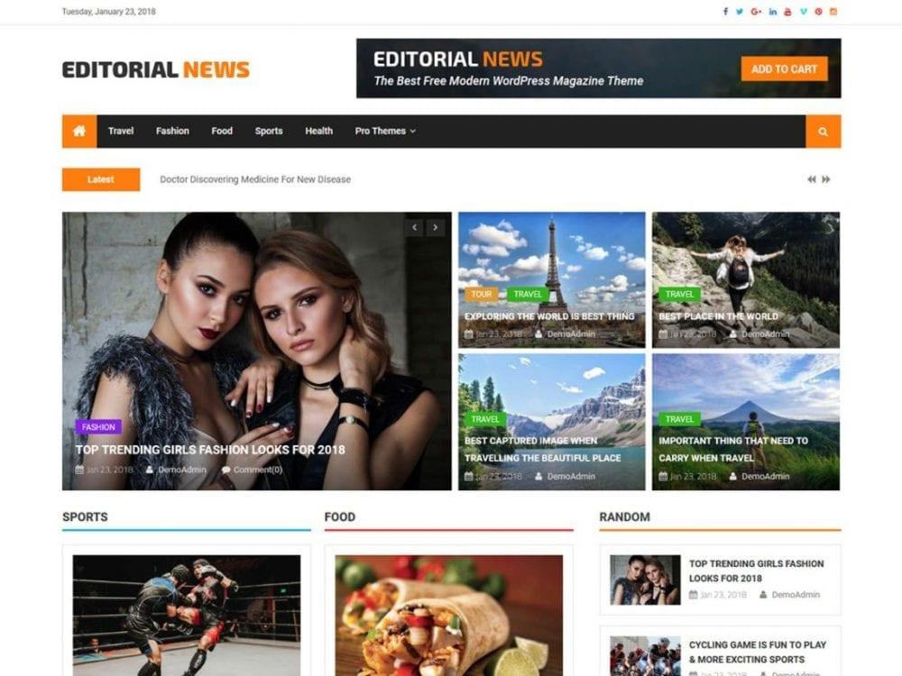 Free Editorial News WordPress theme