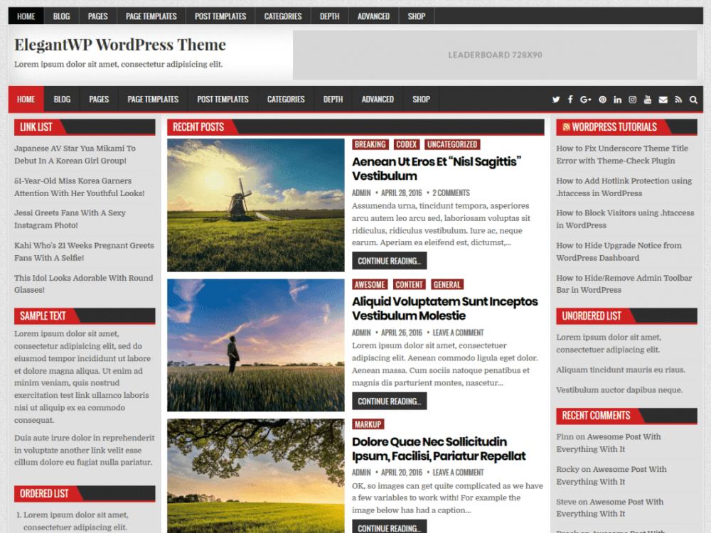 Free ElegantWP WordPress theme