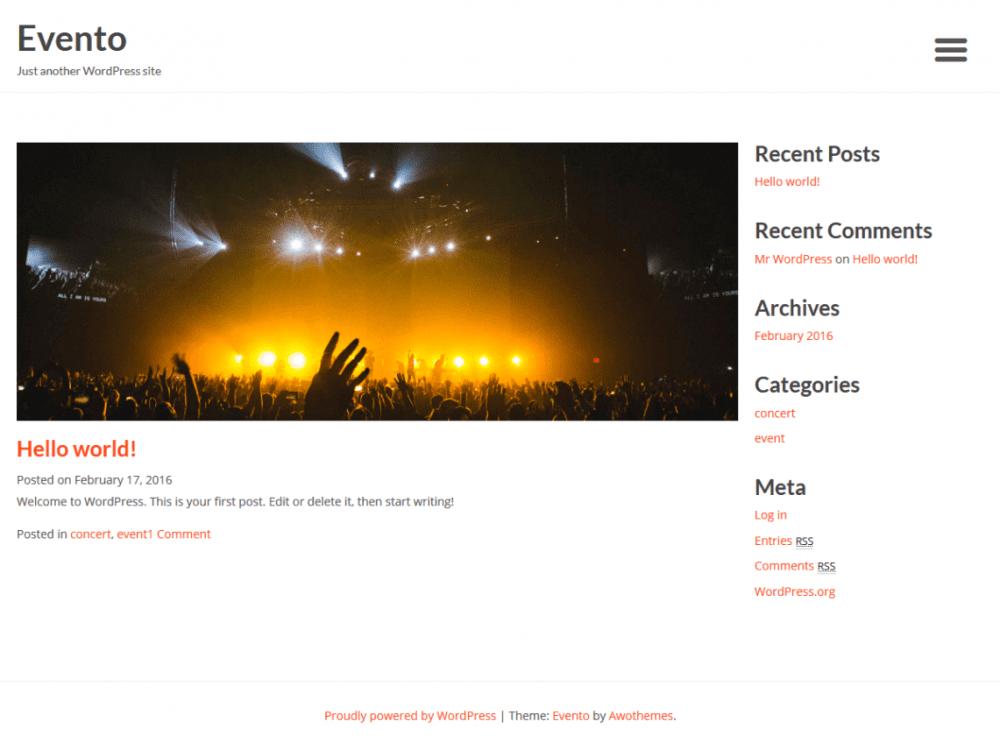 Free Evento WordPress theme