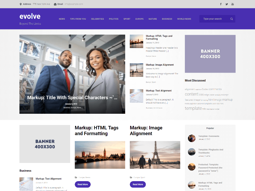 Free Evolve WordPress theme
