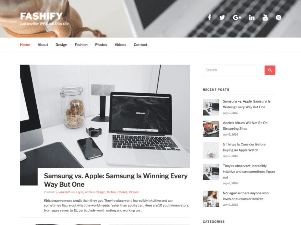 Free Fashify WordPress theme
