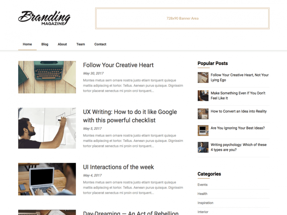 Free Feather Magazine WordPress theme
