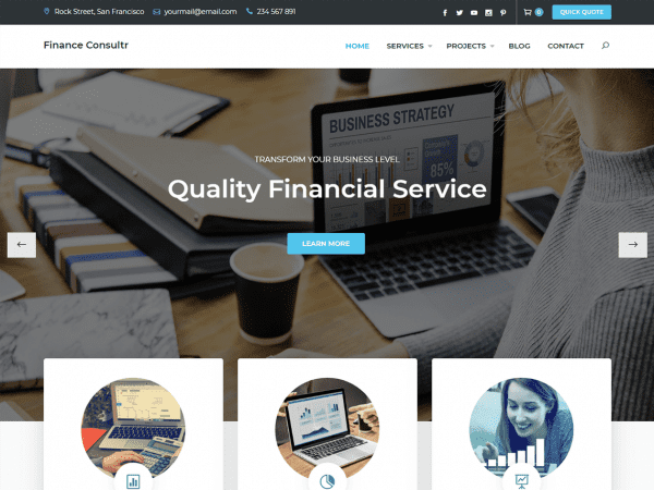 Free Finance Consultr WordPress theme