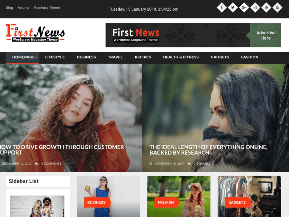 Free First News WordPress theme