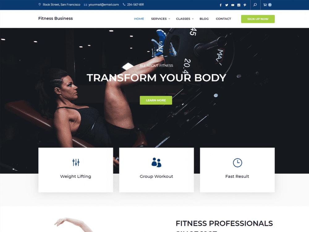 Free Fitness Business WordPress theme
