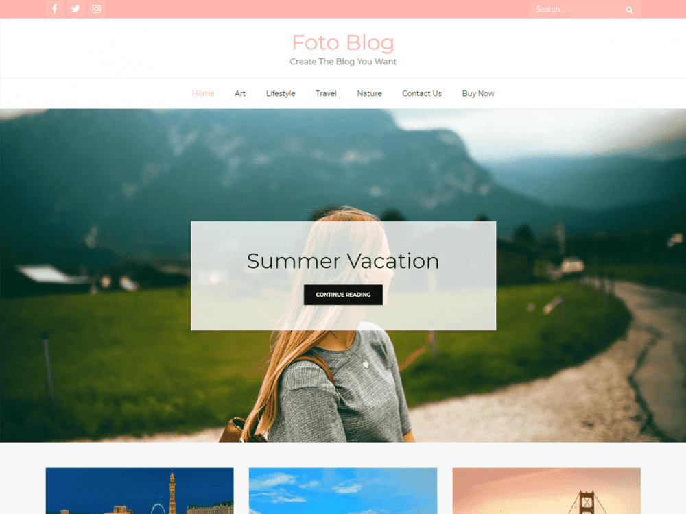 Free Foto Blog WordPress theme