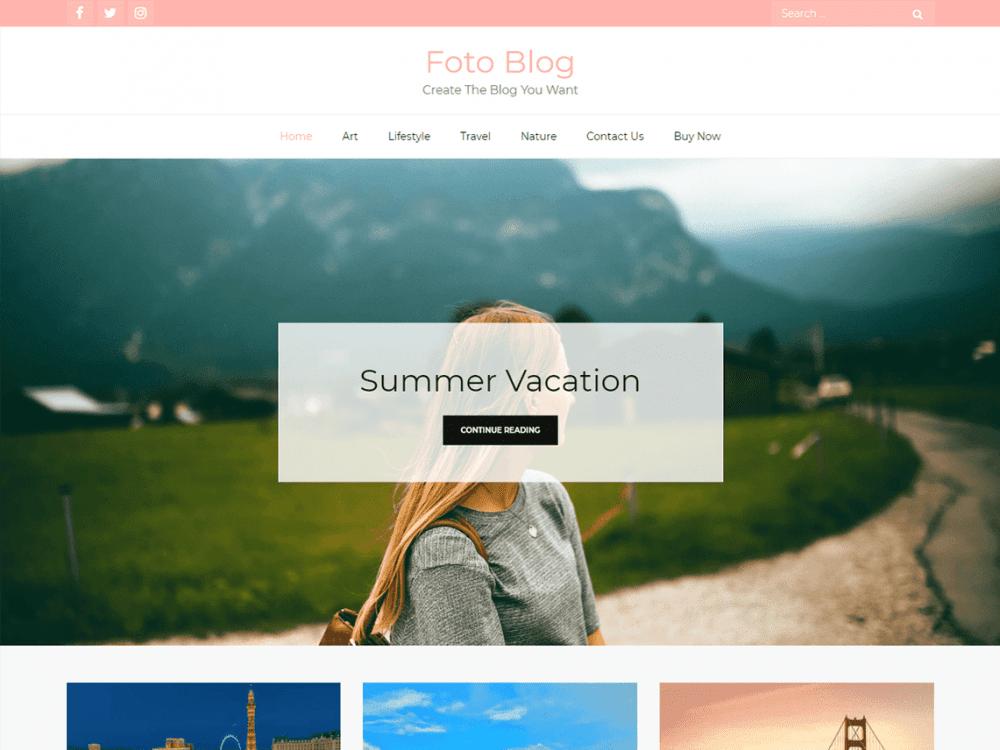 Free Foto Blog WordPress theme
