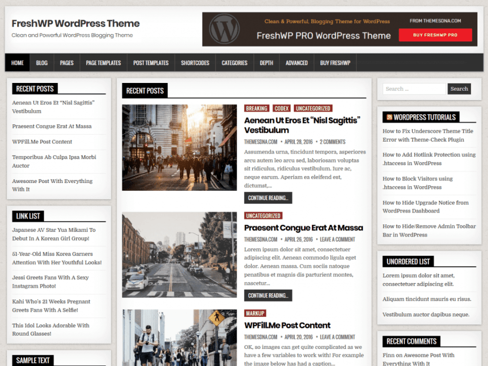 Free FreshWP WordPress theme