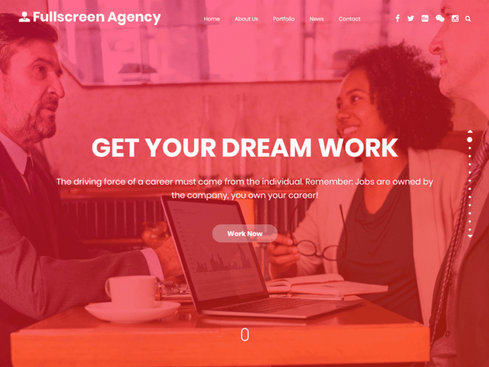 Free Fullscreen Agency WordPress theme