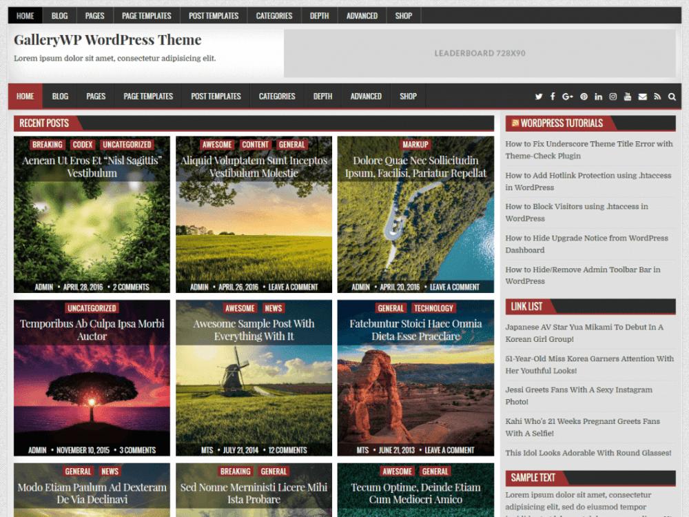 Free GalleryWP WordPress theme