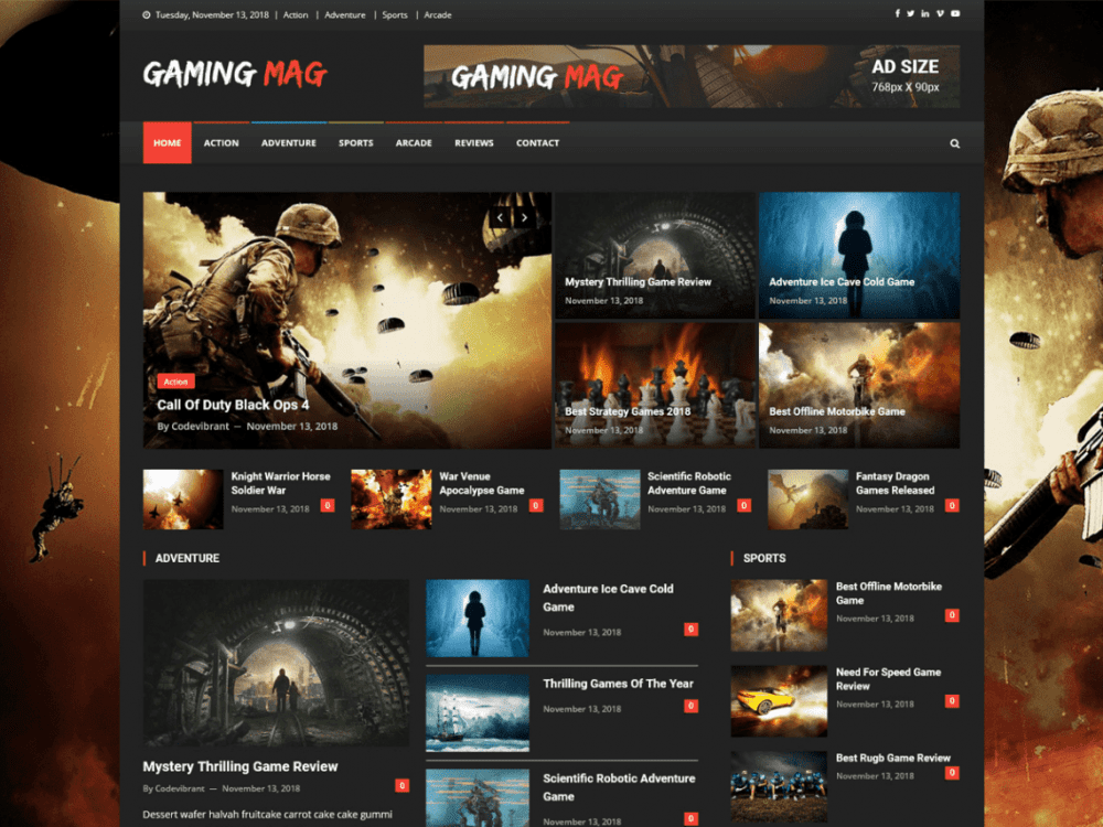 Free Gaming Mag WordPress theme