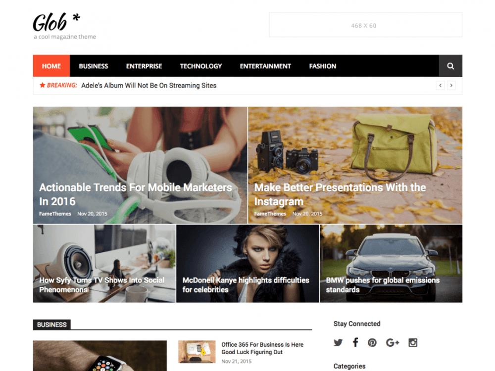 Free Glob WordPress theme