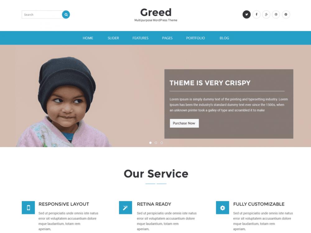 Free Greed WordPress theme