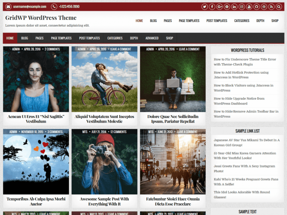 Free GridWP WordPress theme