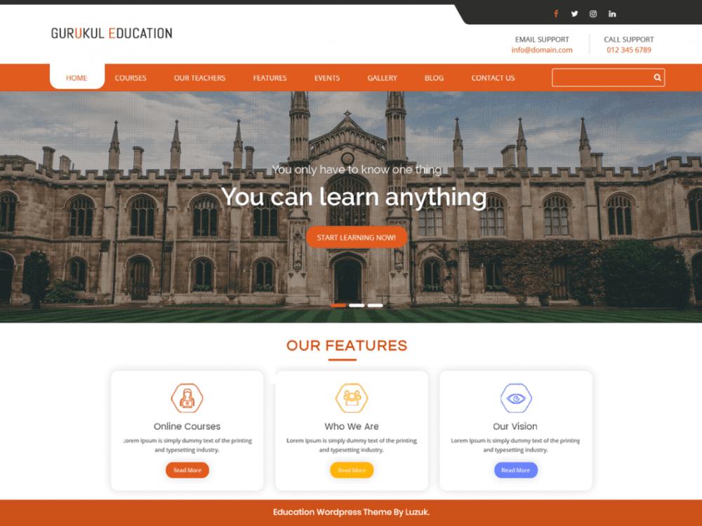 Free Gurukul Education WordPress theme