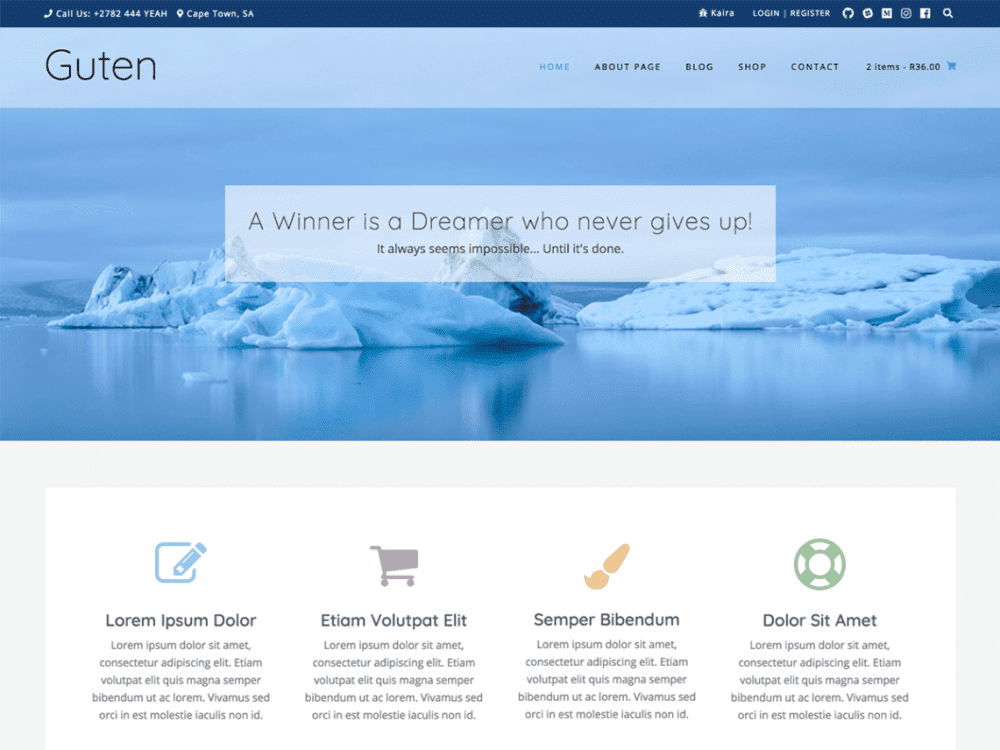 Free Guten WordPress theme
