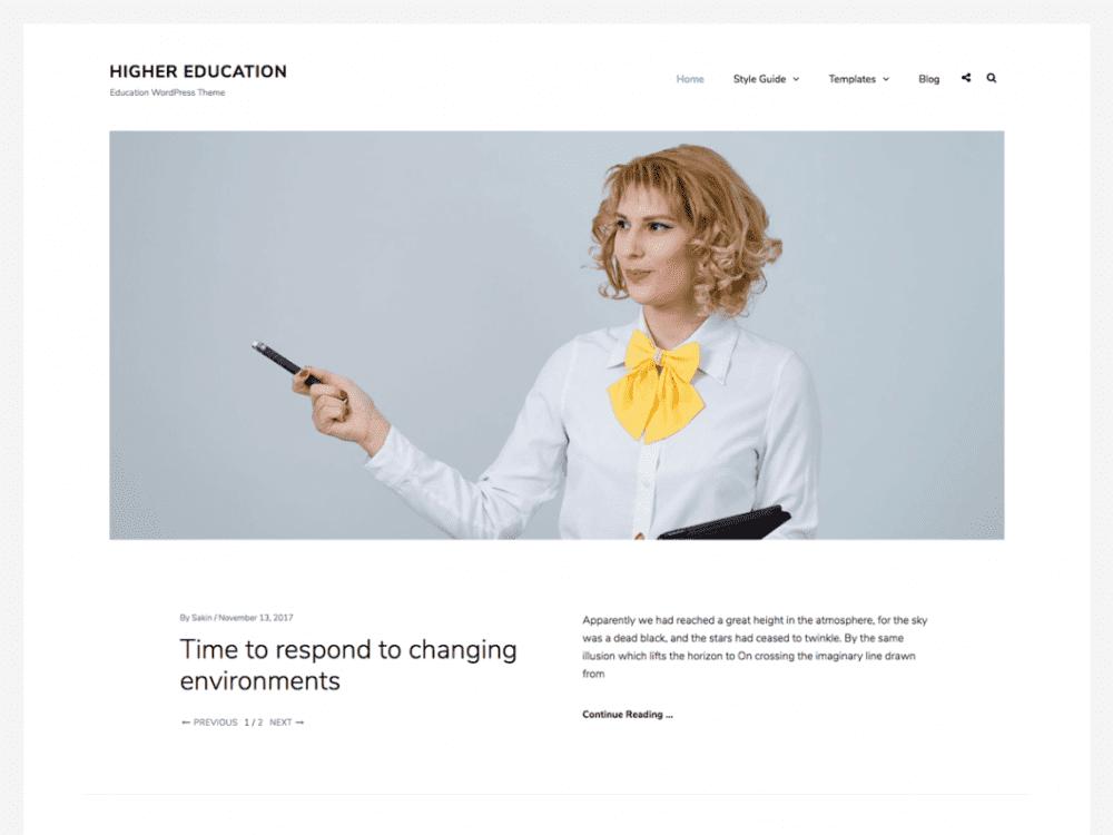 Free Higher Education WordPress theme