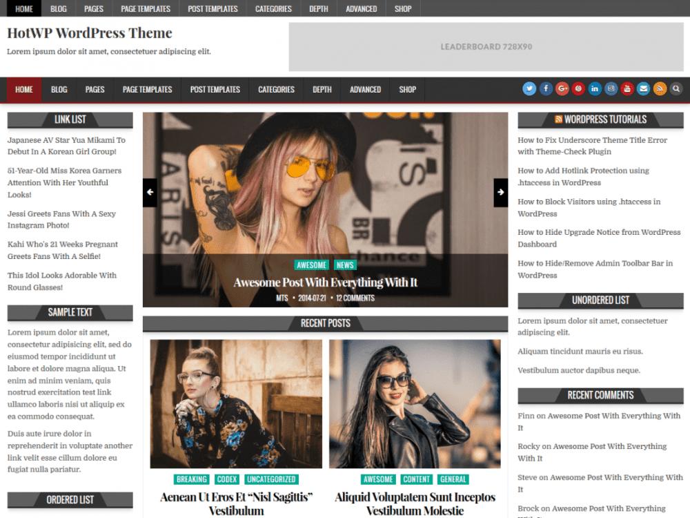 Free HotWP WordPress theme