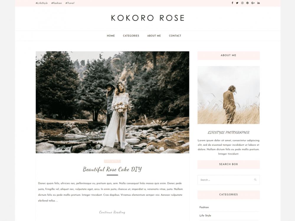 Free Kokoro Rose WordPress theme