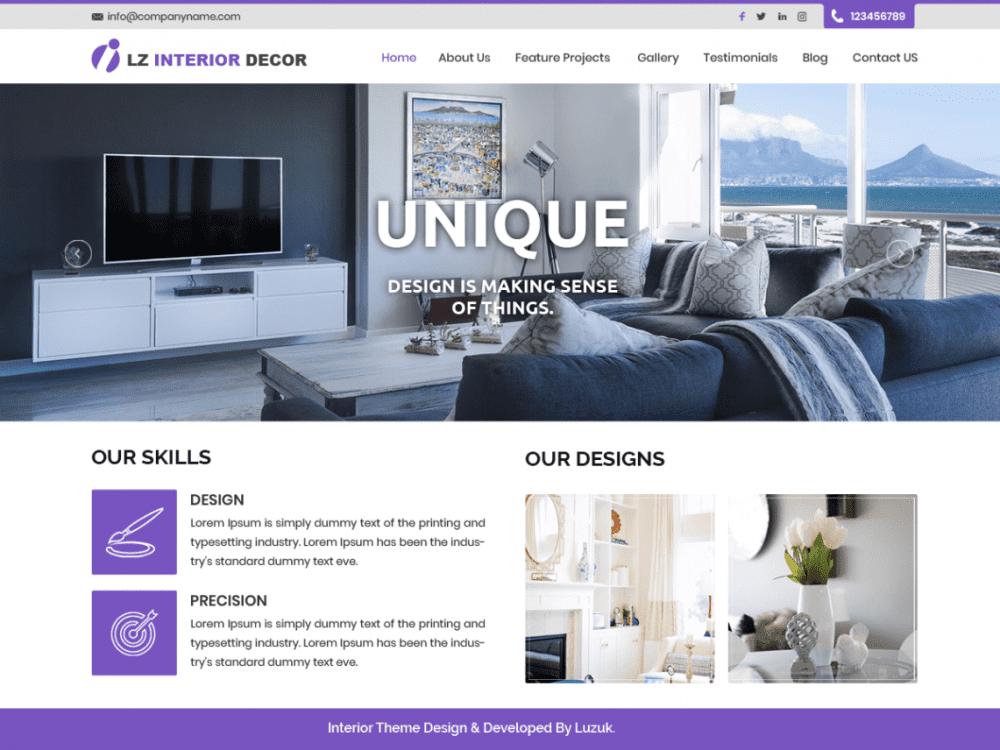 Free LZ Interior Decor WordPress theme