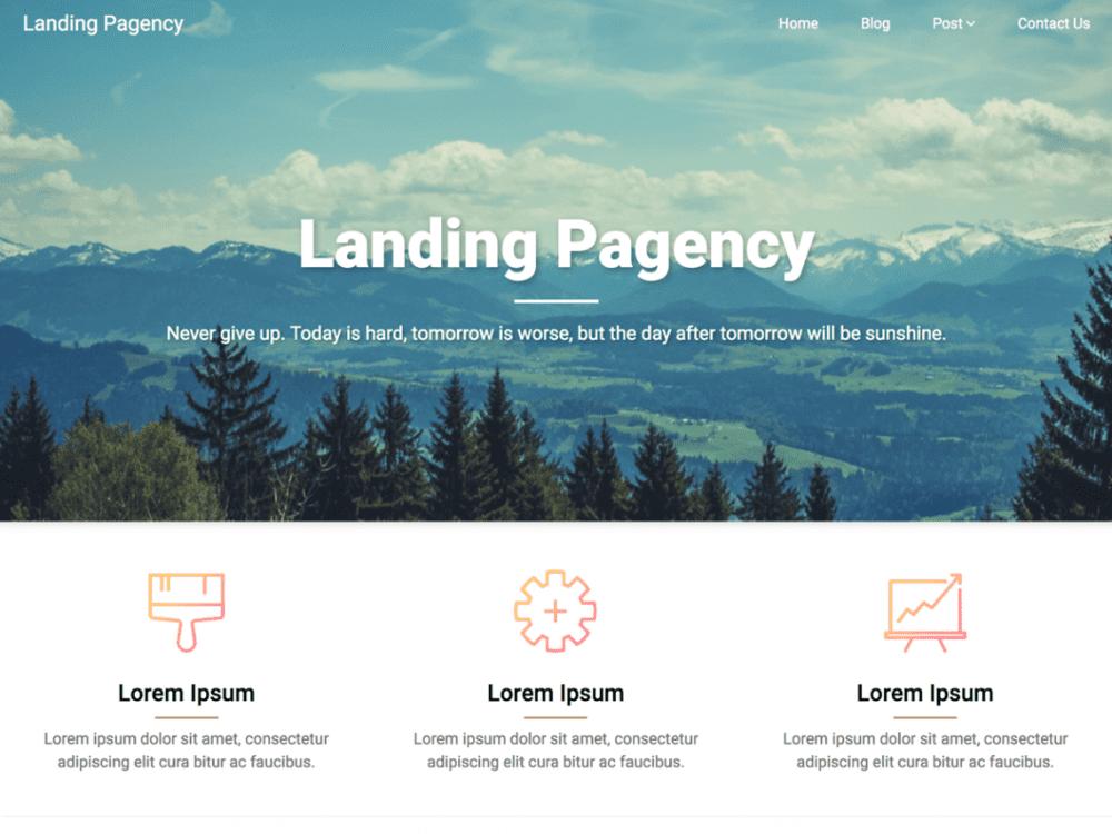 Free Landing Pagency WordPress theme