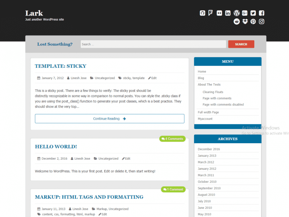 Free Lark WordPress theme
