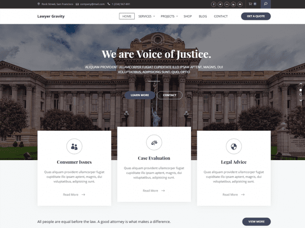 Free Lawyer Gravity WordPress theme
