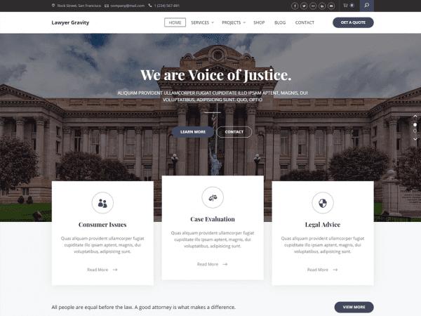 Free Lawyer Gravity WordPress theme