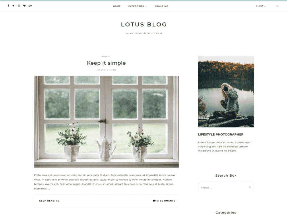 Free Lotuslite WordPress theme