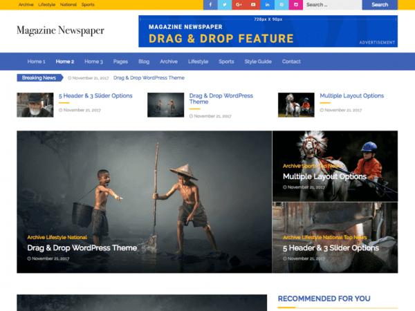 Free Magazine Newspaper WordPress theme