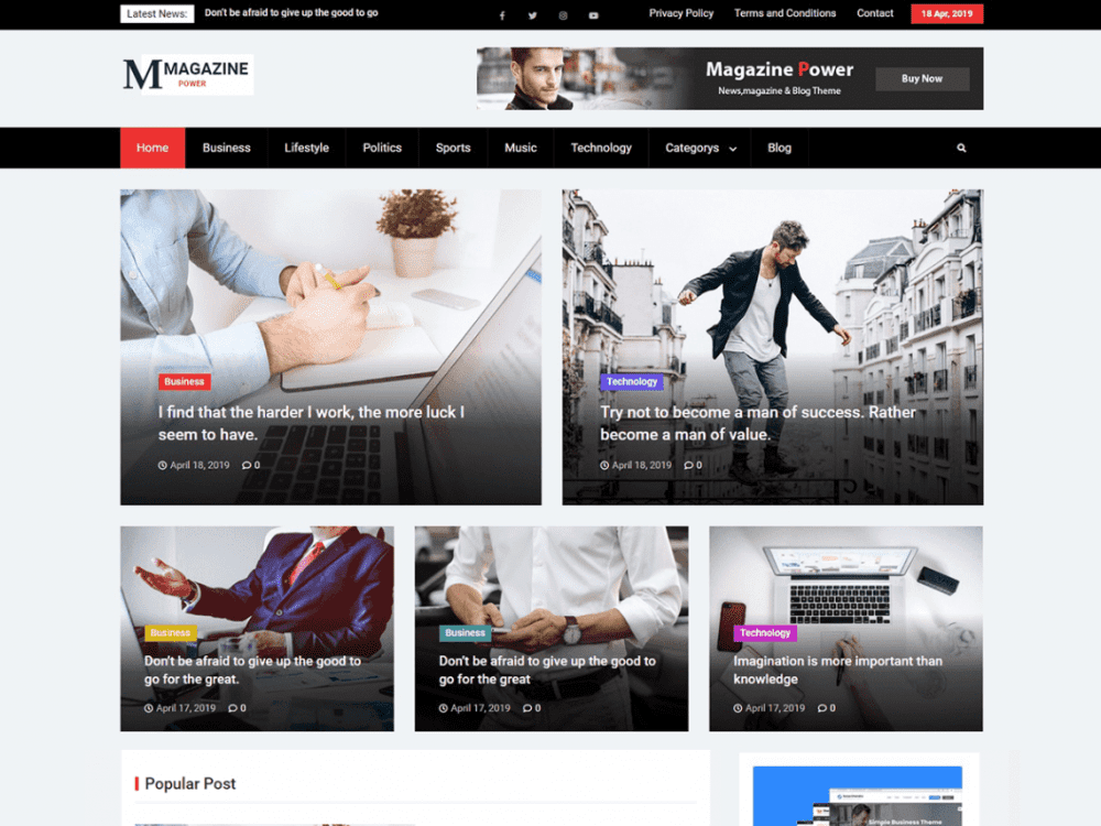 Free Magazine Power WordPress theme