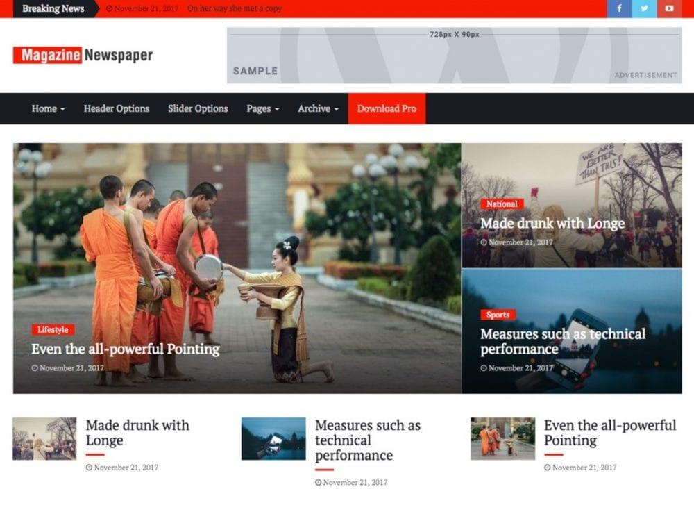 Free Magazine Press WordPress theme