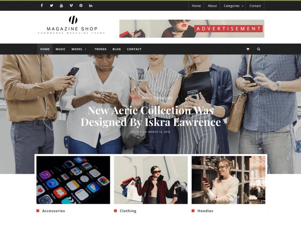 Free Magazine Shop WordPress theme