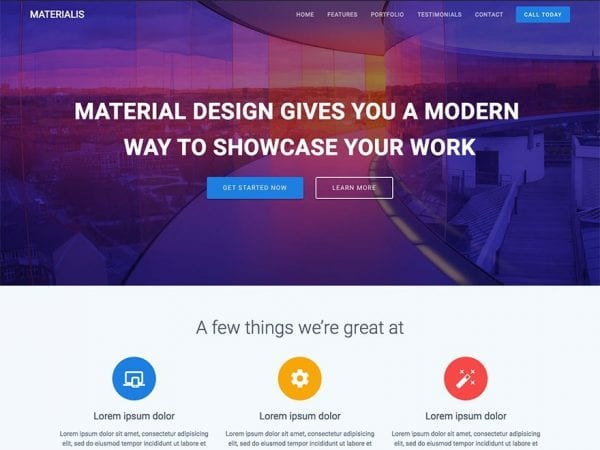 Free Materialis WordPress theme