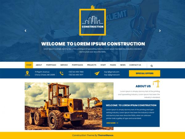 Free Mega Construction WordPress theme