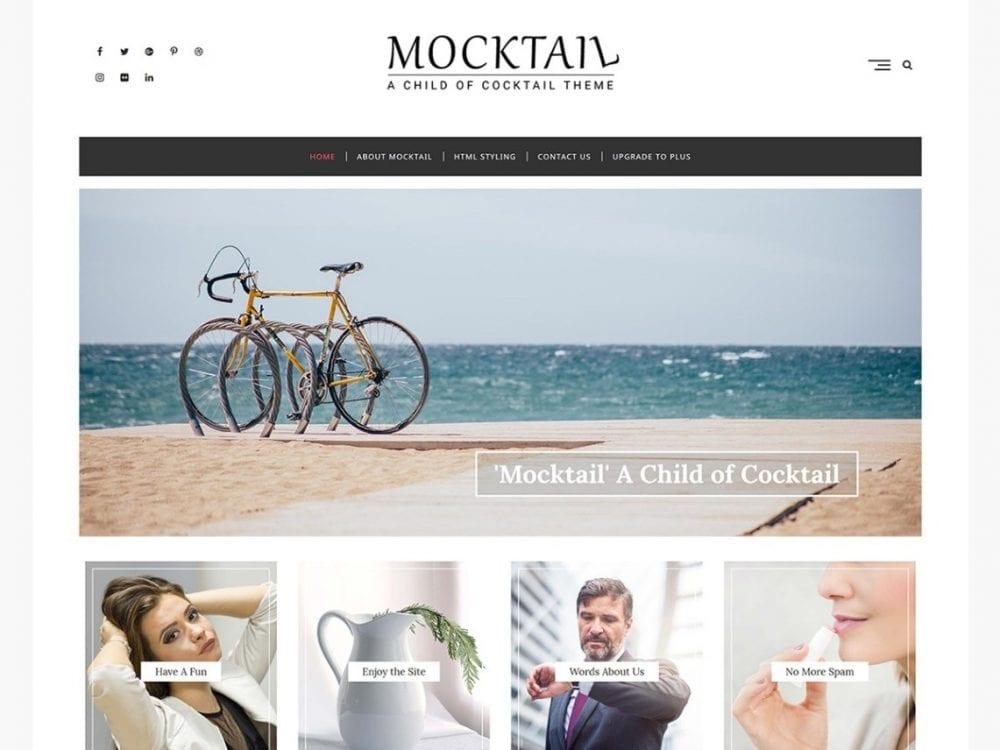 Free Mocktail WordPress theme