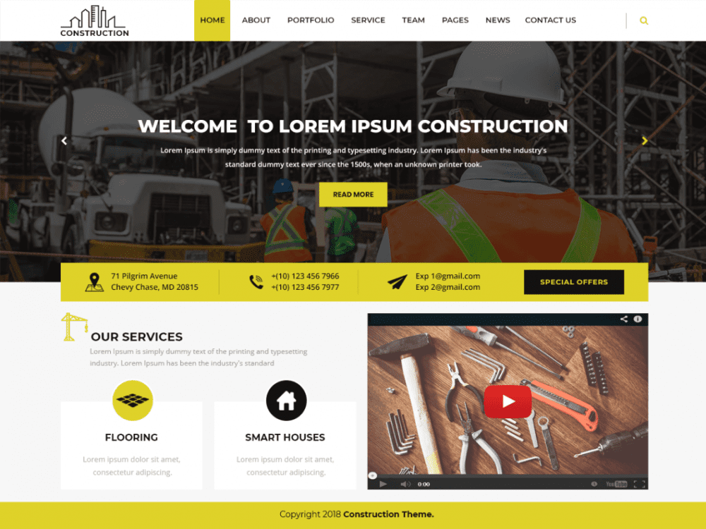 Free Modern Construction WordPress theme