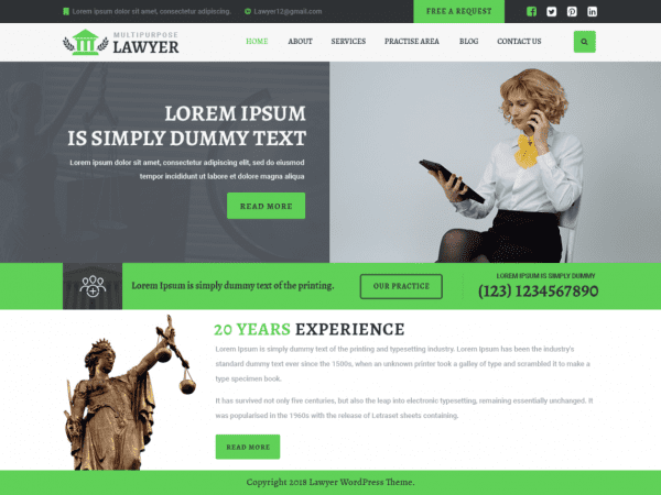 Free Multipurpose Lawyer WordPress theme