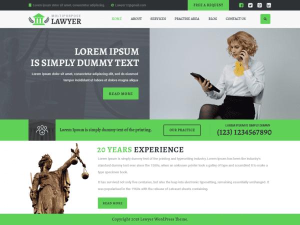 Free Multipurpose Lawyer WordPress theme