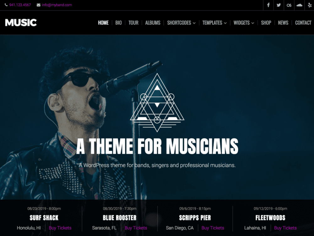 Free Music Lite WordPress theme