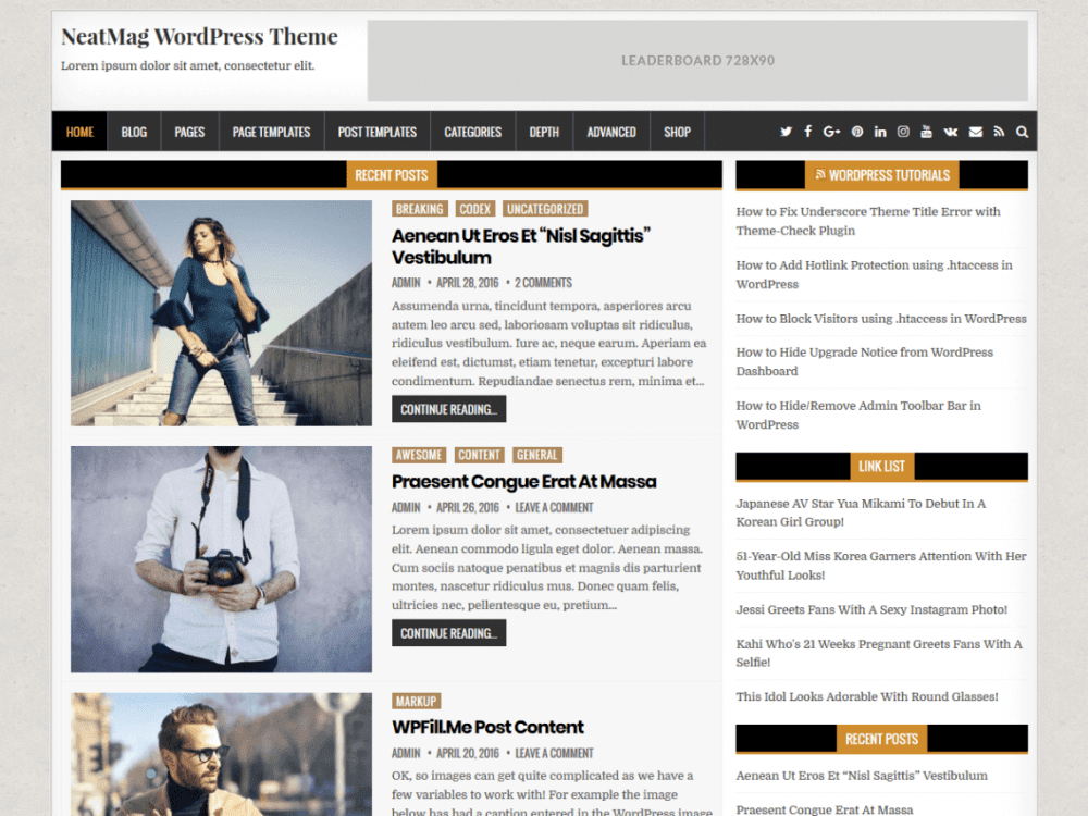 Free NeatMag WordPress theme